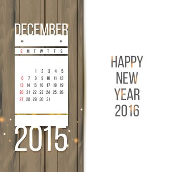 Christmas background with calendar for December 2015 vector illustration