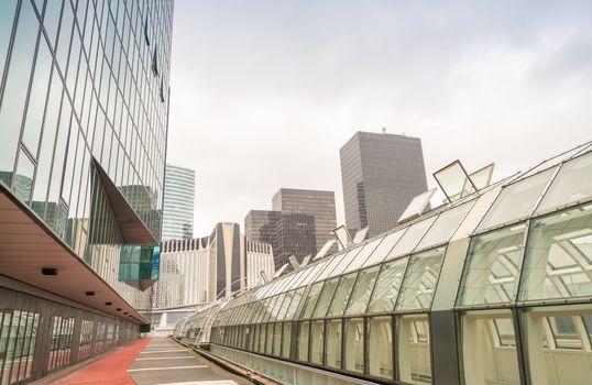 PARIS - JUNE 9, 2014: La Defense modern buildings. La Defense is