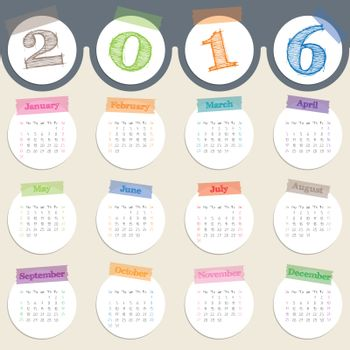 Fancy calendar with color tapes for 2016