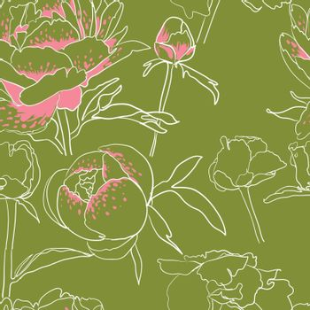 vector background Seamless floral background with peonies
