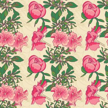 vector background Seamless floral background with petunia