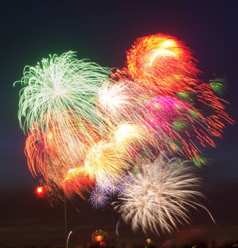 many fireworks at night sky