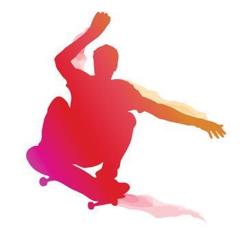 Skaterboarder performing a trick