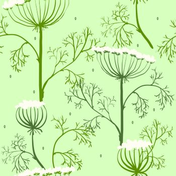 Elegance Seamless pattern with flowers, vector floral illustration in vintage style, Ukraine, dill