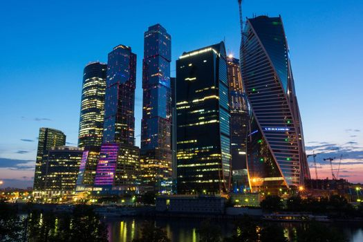 Moscow, city, building, office, river, sky, landscape, architecture.