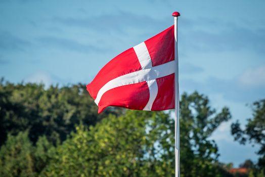 Flag of Denmark in the wind