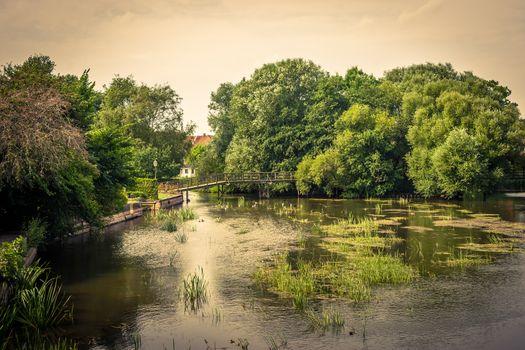 Idyllic lake with a bridge