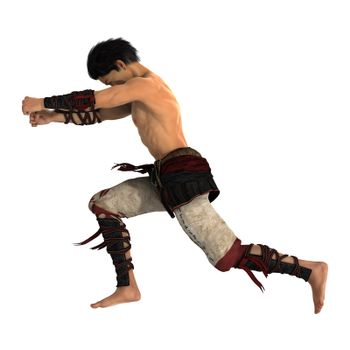 3D digital render of a fighting Asian man isolated on white background