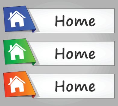 illustration of home web buttons banners set