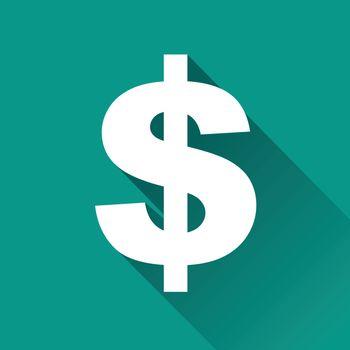 illustration of dollar flat design icon isolated