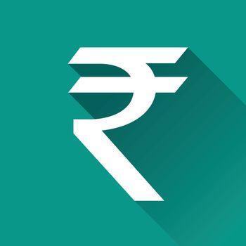 illustration of rupee flat design icon isolated
