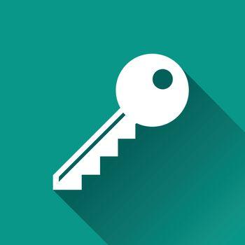illustration of key flat design icon isolated