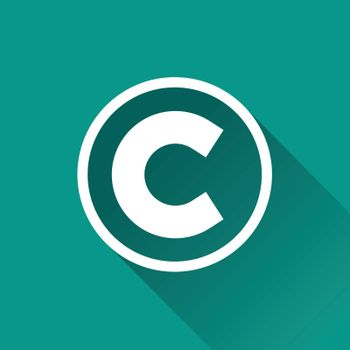 illustration of copyright flat design icon isolated