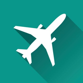 illustration of aircraft flat design icon isolated