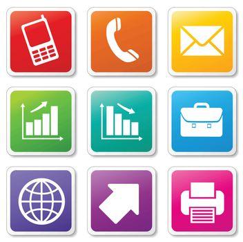 illustration of business set icons on white background