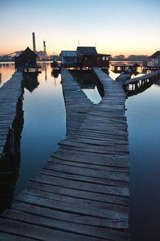Floating village in Bokod, Hungary