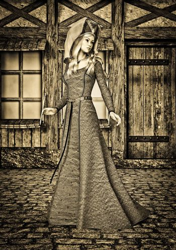 3D digital render of a beautiful medieval lady on an old city background