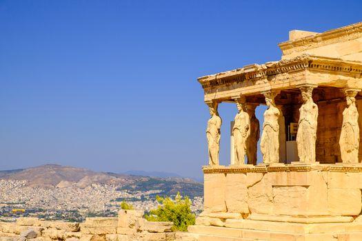 Architecture detail of ancient temple Erechteion in Acropolis
