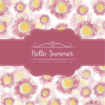 Watercolor floral card with message Hello Summer