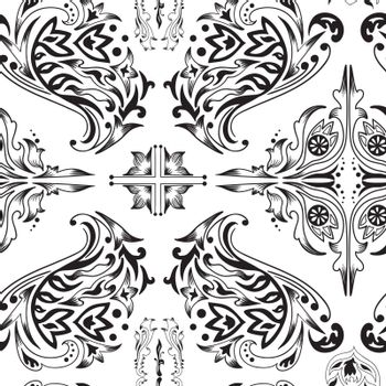 Seamless background with Arabic ornaments - swirls, florals for design
