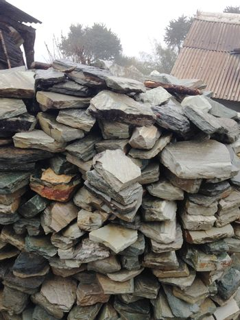 closed up the stone wall in Nepal's village