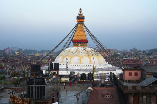 view of Boudhanath, the famous temple in Kathmandu, Nepal