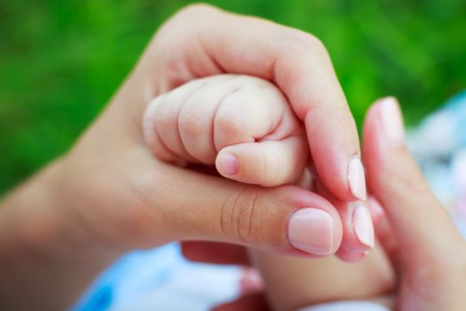 mother's hand holding baby's hand outdoor