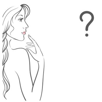 Young woman with question. Isolated on white background. Outline drawing female profile