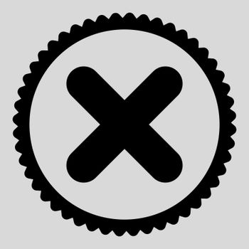 Cancel flat black color round stamp icon