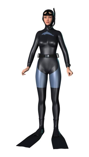 3D digital render of a female diver isolated on white background