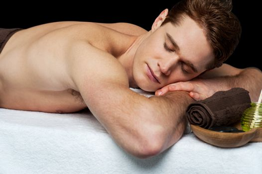 Man relaxing in a spa