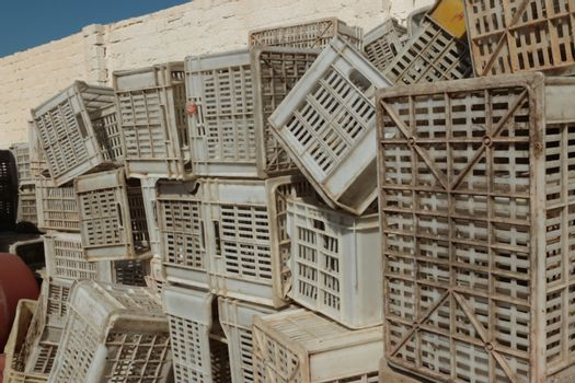 Old empty plastic crates