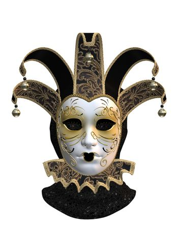 3D digital render of a Venetian mask isolated on white background