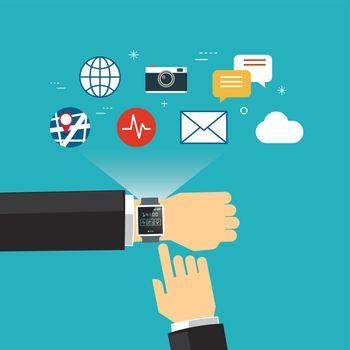smart watch concept flat design