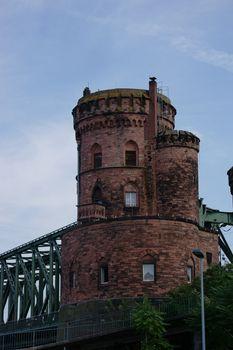 The riveted steel beams and a part of a bridge pylon of a railway bridge, the south bridge in Mainz.