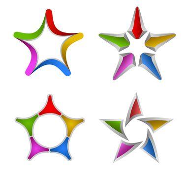 Colorful star design elements