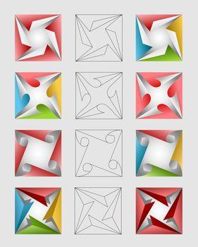 Colorful square design elements