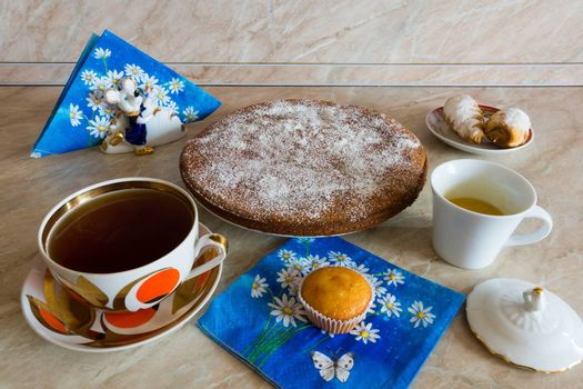 the photograph depicts a tea cake