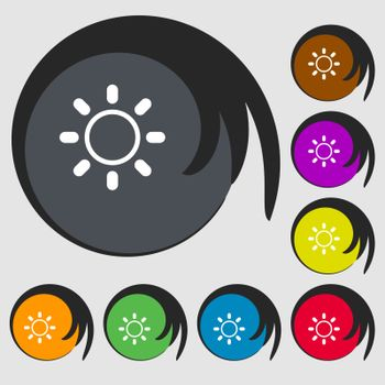 Brightness icon sign. Symbols on eight colored buttons. Vector