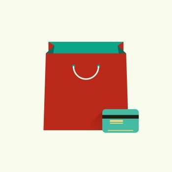 Vector illustration of red bag  for shopping and credit or debit plastic card. Shopping concept. Flat design style. Infographic element
