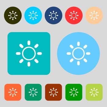 Brightness icon sign. 12 colored buttons. Flat design. Vector