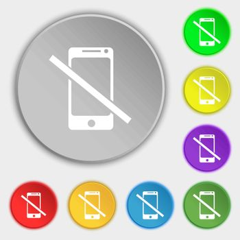 Do not call. Smartphone signs icon. Support symbol. Symbols on eight flat buttons. Vector