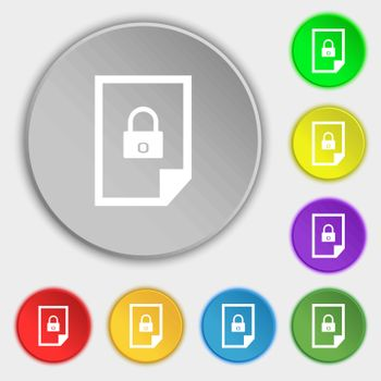 file unlocked icon sign. Symbols on eight flat buttons. Vector