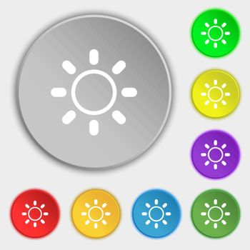 Brightness icon sign. Symbols on eight flat buttons. Vector