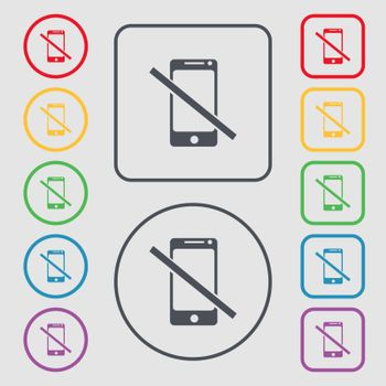 Do not call. Smartphone signs icon. Support symbol. Symbols on the Round and square buttons with frame. Vector