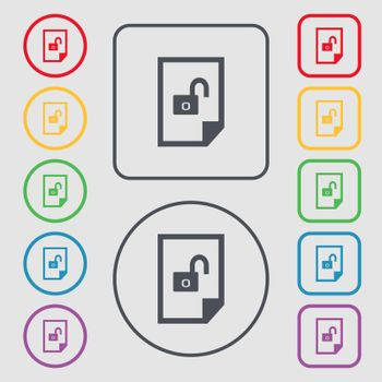 file unlocked icon sign. Symbols on the Round and square buttons with frame. Vector