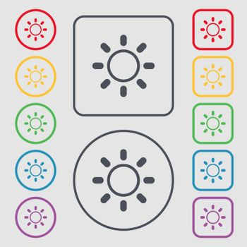 Brightness icon sign. Symbols on the Round and square buttons with frame. Vector