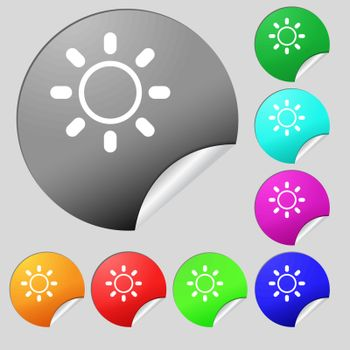 Brightness icon sign. Set of eight multi colored round buttons, stickers. Vector