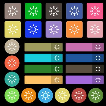 Brightness icon sign. Set from twenty seven multicolored flat buttons. Vector