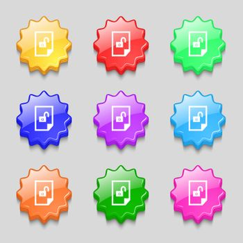 file unlocked icon sign. Symbols on nine wavy colourful buttons. Vector